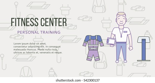 Ems training web banner or flyer in flat style. Electric muscular fitness concept with personal trainer. Vector illustration