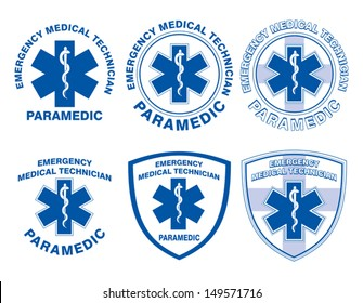 EMT Paramedic Medical Designs is an illustration of six EMT or paramedic designs with star of life medical symbols.