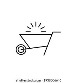 Emty Barrow construction, wheelbarrow icon in flat black line style, isolated on white background