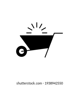 Emty Barrow construction, wheelbarrow icon in solid black flat shape glyph icon, isolated on white background
