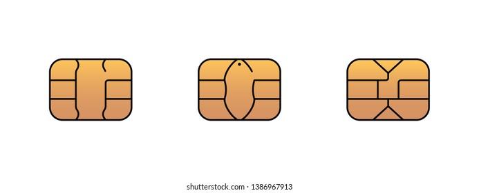 EMV gold chip icon for bank plastic credit or debit charge card. Vector symbol illustration set