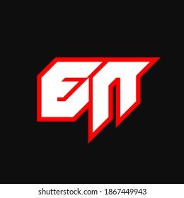 EN logo design, initial EN letter design with sci-fi style. EN logo for game, esport, Technology, Digital, Community or Business. E N sport modern Italic alphabet font. Typography urban style fonts.
