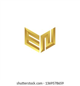 EN Logo letter initial 3d designs templete with gold colors