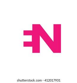 EN Logo. Vector Graphic Branding Letter Element. White Background