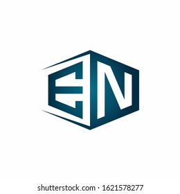 EN monogram logo with hexagon shape and negative space style ribbon design template