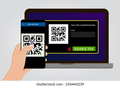 Enable 2FA Two steps authentication and verification flat vector concept illustration on website with qr-code. Authorization on pc by mobile smartphone for computer safety login or sign in.