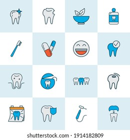 Enamel icons colored line set with dental crown, pills, clean tooth and other mortar elements. Isolated vector illustration enamel icons.