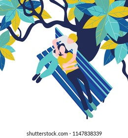 Enamored couple: guy and girl on park bench under tree on white background. Vector illustration, top view, flat style.