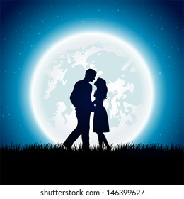 Enamored couple with Moon on the night sky background, illustration.