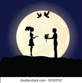 Enamored pair of the man and the woman against the full moon and pair soaring pigeons