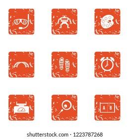Encampment icons set. Grunge set of 9 encampment vector icons for web isolated on white background