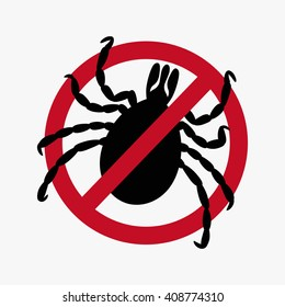 Encephalitic tick crossed sign vector flat icon. black silhouette mite isolated light background. simple bug icon. banned tick. Tick mite Attention sign. tick symbol. beetle tick danger - stock vector