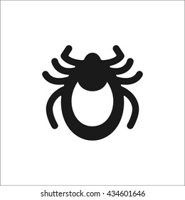 Encephalitis tick icon vector. Mite sign isolated on white background.  Flat design illustration adapted for web, website, mobile app, information banner