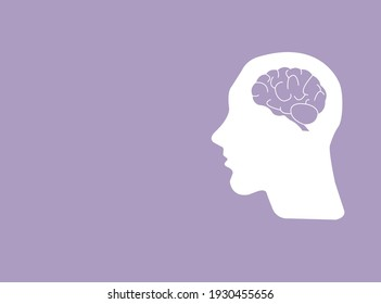 encephalography brain vector on purple background, autism, epilepsy and alzheimer's awareness, seizure disorder, world mental health day concept.