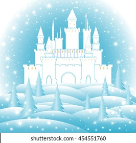 Enchanted castle in frozen forest. Happy New Year and Merry Christmas vector illustration