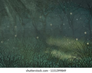 Enchanted forest copy space background. Enchanted forest copy space background for text. Illustration of enchanted forest for copy space background. Enchanted forest copy space illustration for design
