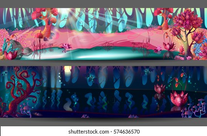 Enchanted forest horizontal banners with magic trees flowers pond in day and night time for game design vector illustration