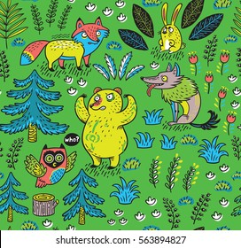 Enchanted Forest Vector Colorful Seamless Pattern With Crazy Animals Funny Cartoon Fox Bear