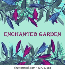 Enchanted Garden . summer image for cards and postcards . Lilies of different colors . Vector graphics.