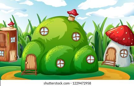 An enchanted magic house illustration