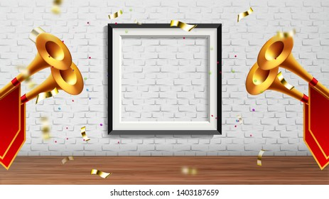 Enchanting Presentation In Exhibition Hall Vector. Golden Fanfare Trumpets With Red Flags, Foil Confetti And Picture Frame On Brick Wall Elements Of Presentation In Gallery. Realistic 3d Illustration