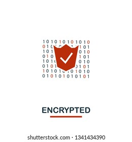 Encrypted icon. Creative two colors design from crypto currency icons collection. Simple pictogram encrypted icon for web design, apps, software, print usage