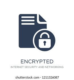 Encrypted icon. Trendy flat vector Encrypted icon on white background from Internet Security and Networking collection, vector illustration can be use for web and mobile, eps10