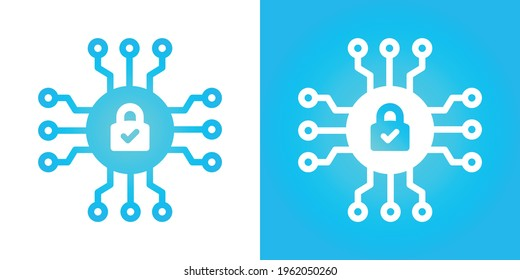 Encryption icon vector. Cybersecurity concept, data secured and protected