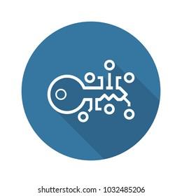 Encryption Key Icon. Modern computer network technology sign. Digital graphic symbol. Concept design elements.