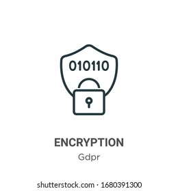 Encryption outline vector icon. Thin line black encryption icon, flat vector simple element illustration from editable gdpr concept isolated stroke on white background