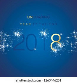 The End 2018 unloading sparkle firework gold blue vector background