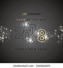 The End 2018 unloading sparkle firework gold black background