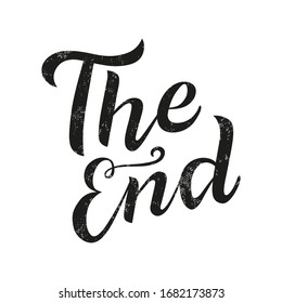 The end black lettering text on white background. Handmade calligraphy vector illustration. Vector design for poster, logo, decor, movie, cinema, card, banner, postcard, final credits and print.