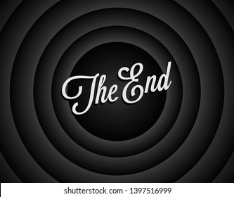 The end black and white screen background. Movie ending screen background. The end of movie or film or video. Vintage styled vector illustration.