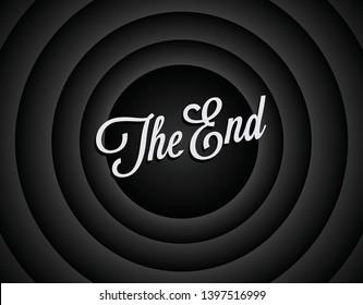 Das Ende des schwarz-weißen Bildschirmhintergrunds. Filmhintergrund auf Bildschirmende. Das Ende von Film, Film oder Video. Vintage-stylierte Vektorgrafik.