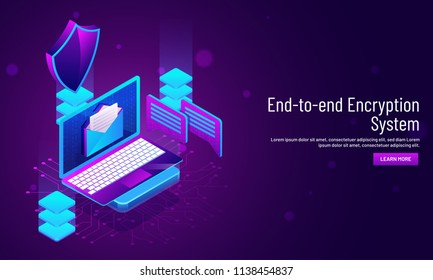 End to end Encryption system concept, isometric illustration of laptop with security shield and servers, responsive web template design.
