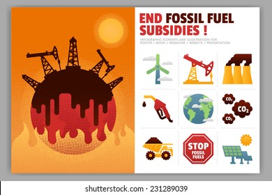 End Fossil Fuel Subsidies Illustration and Infographic Element