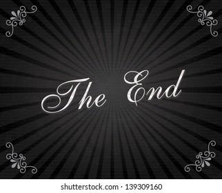 the end frame over black background vector illustration