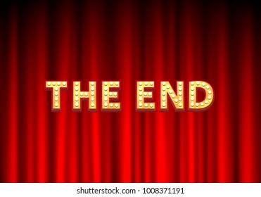 The End gold text on the scene background. Vector illustration