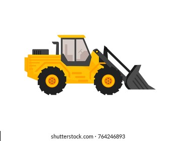 end loader vehicle. bulldozer quarry machine. stone wheel yellow digger. backhoe front loader truck. work tractor excavator. vector illustration.
