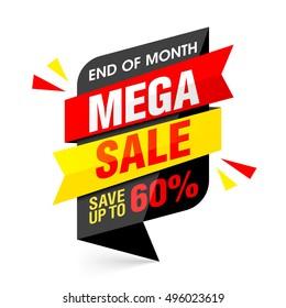 End of month mega sale banner. Big sale, special offer, save up to 60% off. Vector illustration.