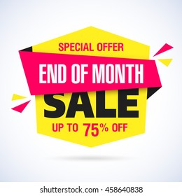 End of Month Sale banner. Month end sale, save up to 75% off. Vector illustration.