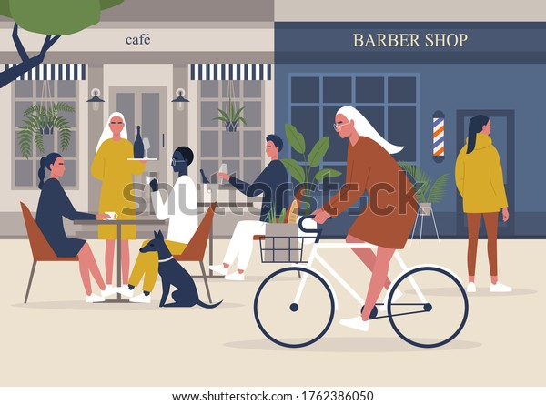 The end of pandemic, restaurants and barber shops reopening, back to normal, people walking, biking and sitting at the cafe, millennial lifestyle
