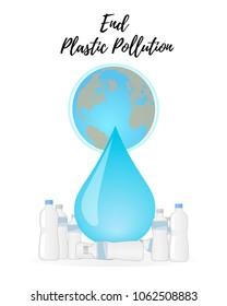 End Plastic Pollution. Vector illustration.