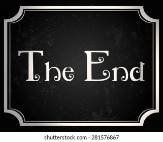 The End Retro Black And White Movie Screen, Vector Illustration.