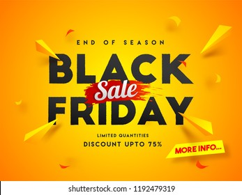 End of Season, Black Friday sale banner design with 75% discount offer on shiny orange background.