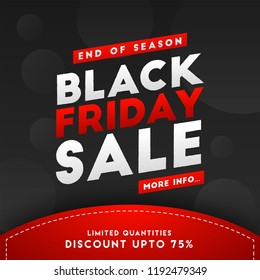 End of season, Black Friday Sale template design with 75% discount offer.