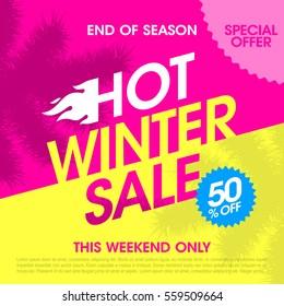 End of season hot winter sale banner vector illustration