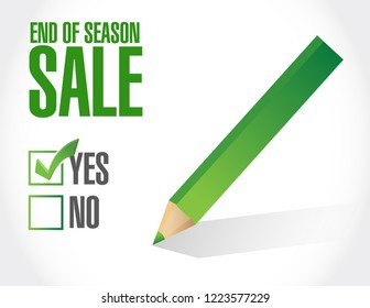 End of season sale, approval check mark message concept illustration isolated over a white background