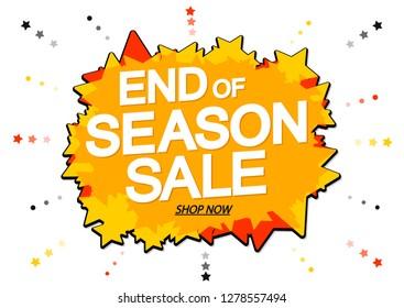 End of Season, Sale, banner design template, discount poster, vector illustration